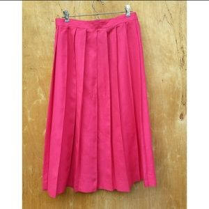 Vintage The Villager pink pleated linen skirt 14